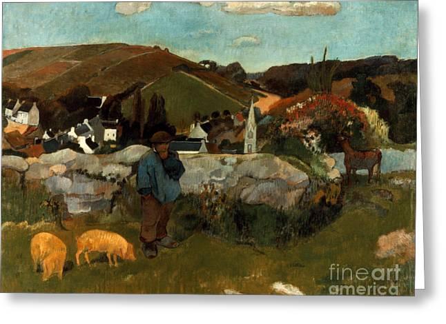 Gauguin: Swineherd, 1888 Greeting Card by Granger