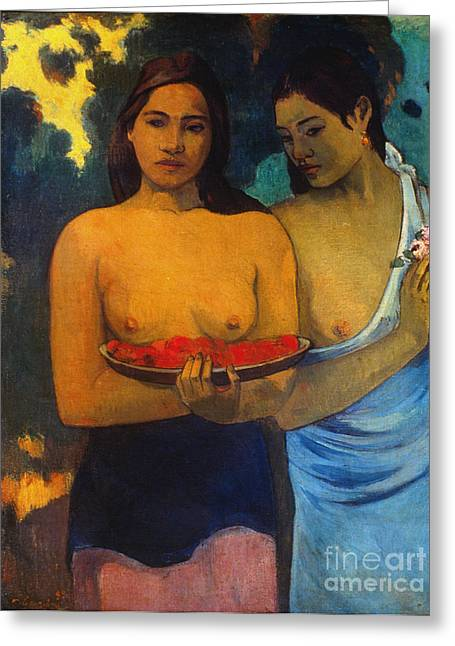 Gauguin: Two Women, 1899 Greeting Card by Granger