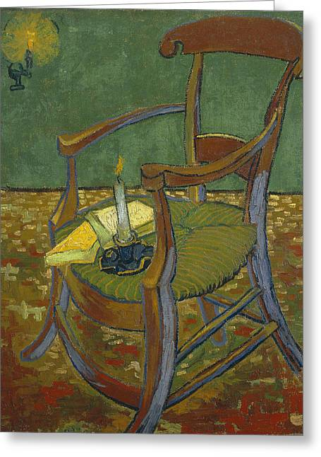 Greeting Card featuring the painting Gauguin's Chair by Van Gogh