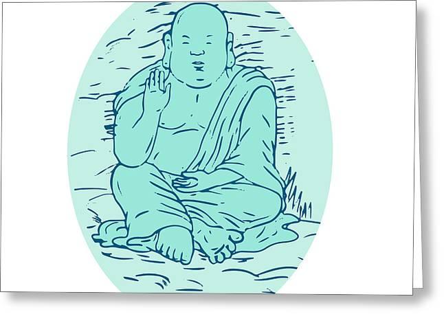 Gautama Buddha Lotus Pose Drawing Greeting Card