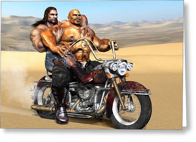 Gay Biker Art Motorcycle Bear Pride Bodybuilder Skinhead Nude Naked Male Painting Vykkurt Greeting Card by    Vykkurt