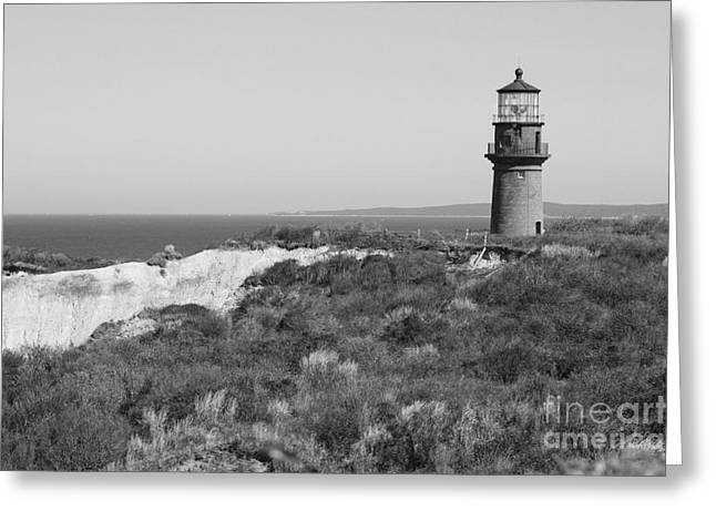 Gay Head Lighthouse - Black And White Greeting Card by Carol Groenen