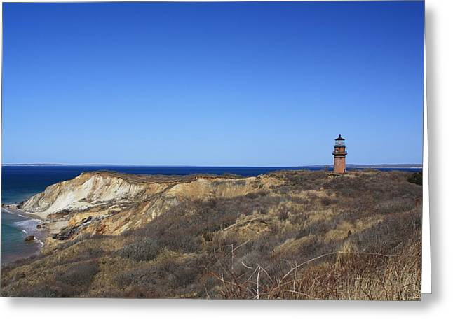 Greeting Card featuring the photograph Gay Head Lighthouse And Cliffs by Greg DeBeck