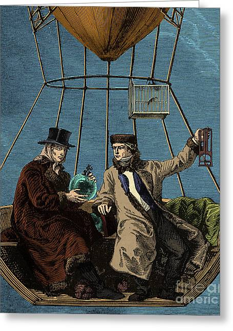 Gay-lussac And Biot In Hot Air Balloon Greeting Card