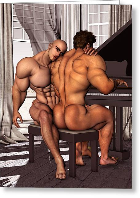 Gay Pianist Piano Art Digital Painting Musician Music Print Naked Bodybuilder Nude Male Greeting Card by    Vykkurt