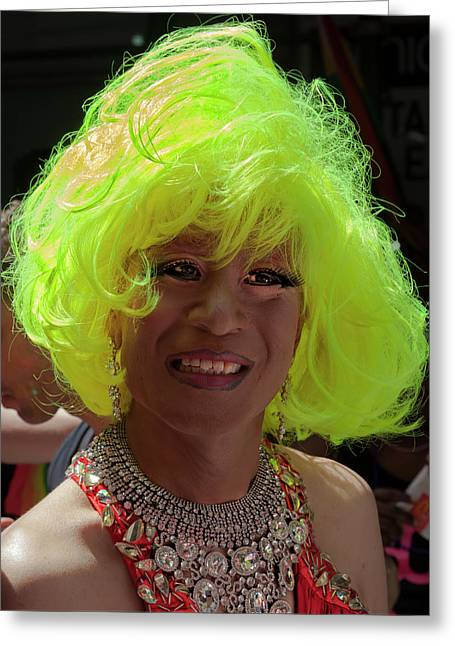 Gay Pride 2017 Nyc Green Wig Drag Queen  Greeting Card
