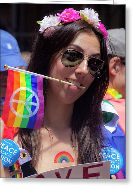 Gay Pride 2017 Nyc Sunglasses And Peace Flag Greeting Card by Robert Ullmann