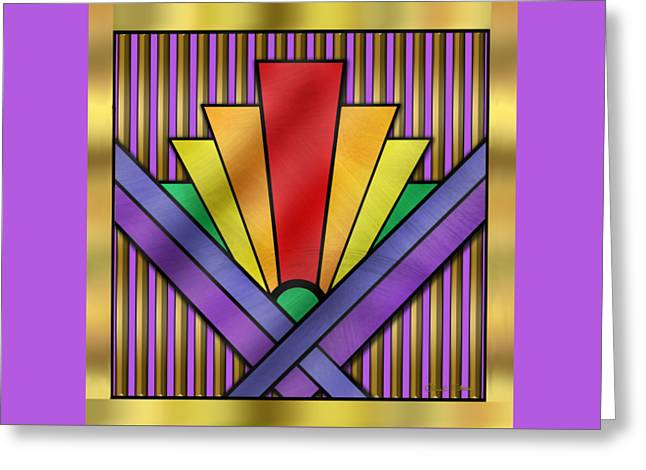 Rainbow Art Deco Greeting Card by Chuck Staley