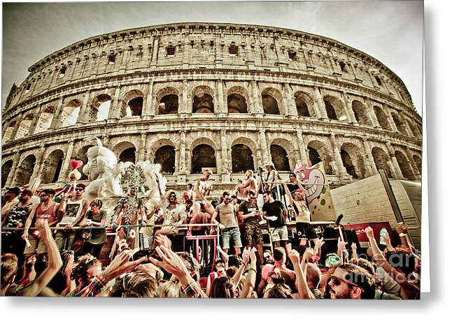 Gay Pride Under Colosseum Greeting Card by Stefano Senise