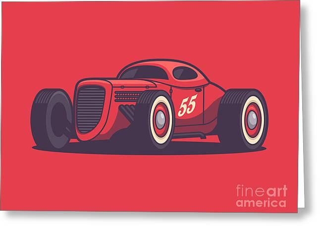 Gaz Gl1 Custom Vintage Hot Rod Classic Street Racer Car - Red Greeting Card