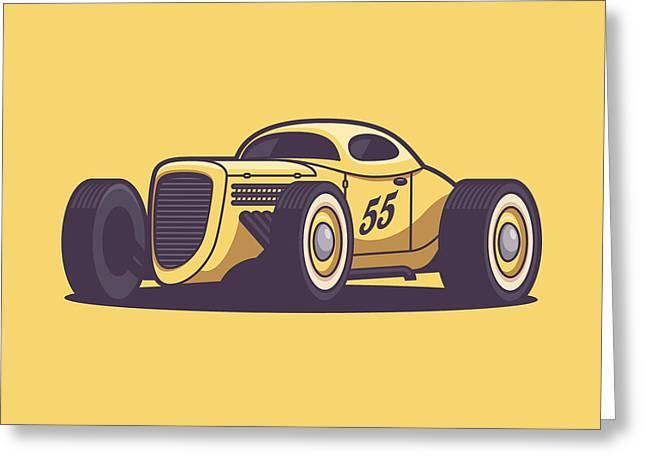 Gaz Gl1 Custom Vintage Hot Rod Classic Street Racer Car - Yellow Greeting Card