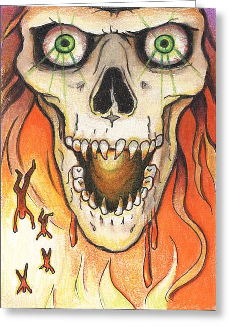 Heat Drawings Greeting Cards - Gaze Into My Eyes Greeting Card by Amy S Turner