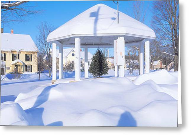 Gazebo And Town In Winter, Danville Greeting Card by Panoramic Images