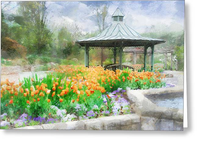 Gazebo With Tulips Greeting Card by Francesa Miller