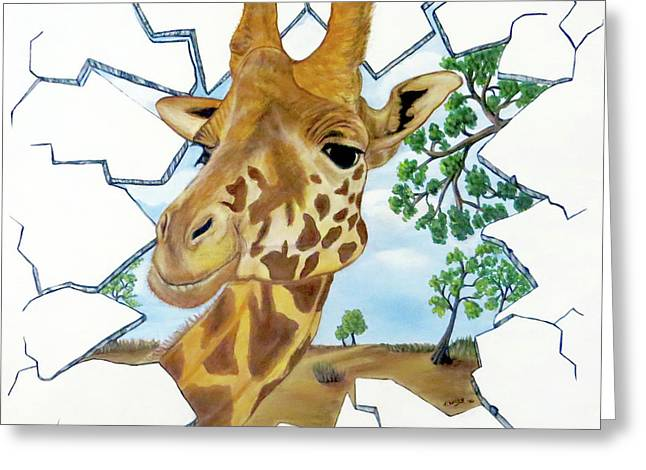 Greeting Card featuring the painting Gazing Giraffe by Teresa Wing