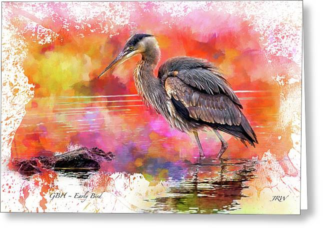 Great Blue  Heron  Early Bird Greeting Card by John Williams