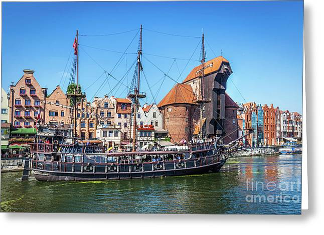 Gdansk Old Town And Famous Crane, Polish Zuraw. Motlawa River In Poland. Greeting Card by Michal Bednarek