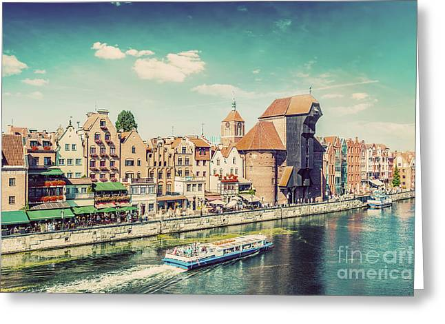 Gdansk Old Town And Famous Crane, Polish Zuraw. Motlawa River In Poland. Vintage Greeting Card by Michal Bednarek