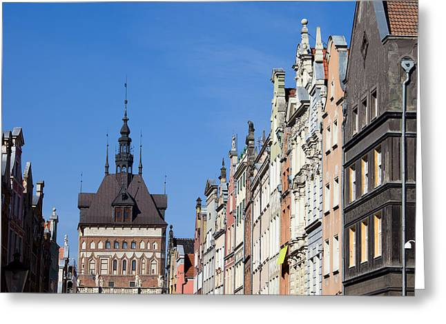 Gdansk Old Town Skyline In Poland Greeting Card
