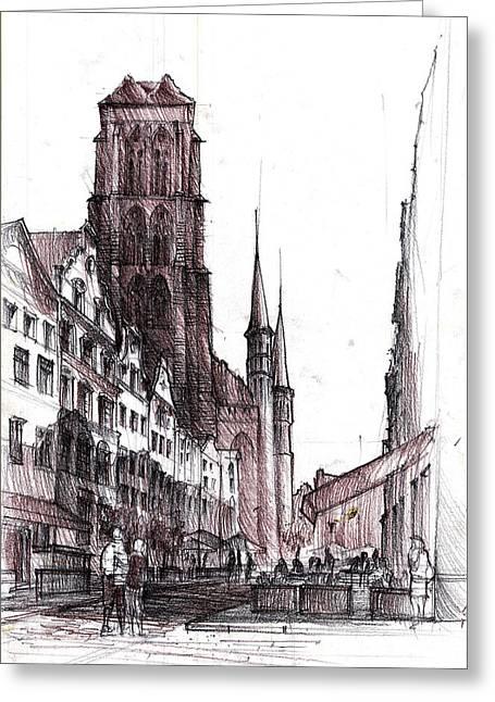 Gdansk Saint Mary's Church Greeting Card by Krystian  Wozniak