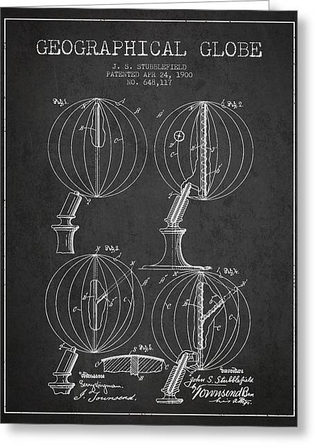 Geaographical Globe Patent From 1900 - Charcoal Greeting Card by Aged Pixel
