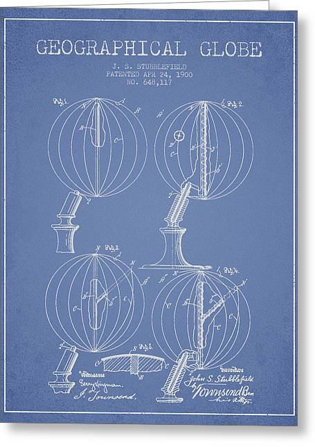 Geaographical Globe Patent From 1900 - Light Blue Greeting Card by Aged Pixel