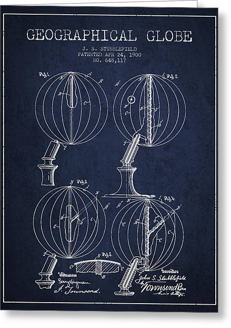 Geaographical Globe Patent From 1900 - Navy Blue Greeting Card by Aged Pixel