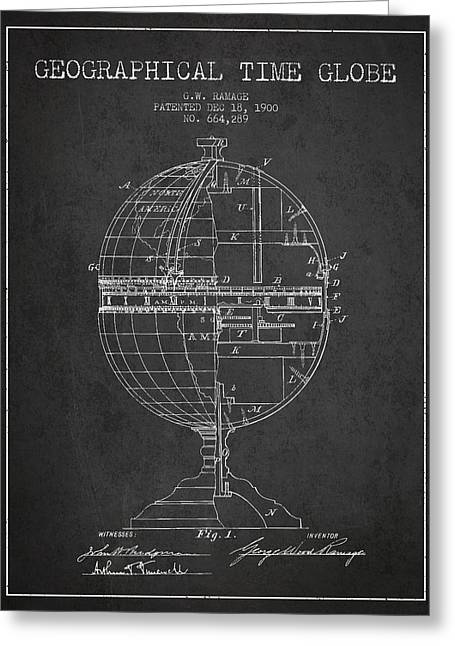 Geaographical Time Globe Patent From 1900 - Charcoal Greeting Card by Aged Pixel