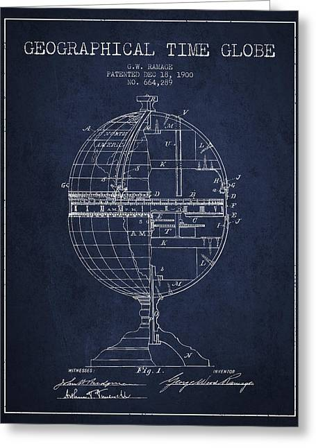 Geaographical Time Globe Patent From 1900 - Navy Blue Greeting Card by Aged Pixel