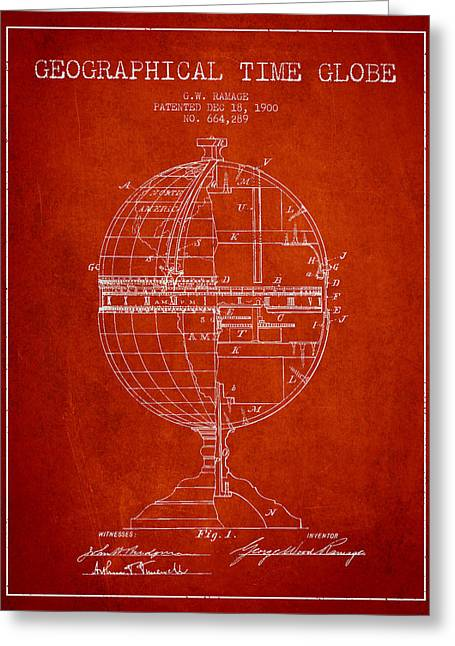 Geaographical Time Globe Patent From 1900 - Red Greeting Card by Aged Pixel