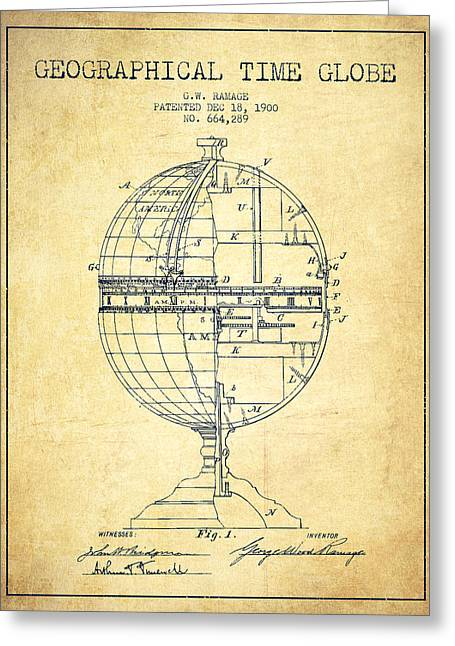 Geaographical Time Globe Patent From 1900 - Vintage Greeting Card by Aged Pixel
