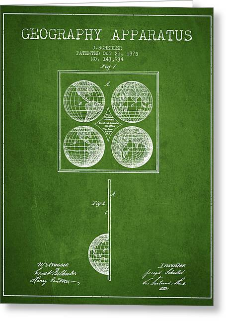Geaography Apparatus Patent From 1873 - Green Greeting Card by Aged Pixel