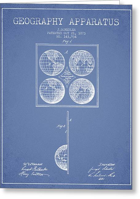 Geaography Apparatus Patent From 1873 - Light Blue Greeting Card by Aged Pixel