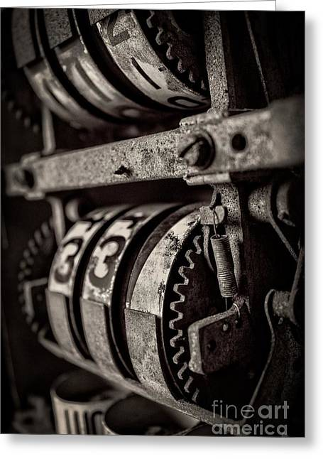 Gears And Dials Greeting Card by Edward Fielding