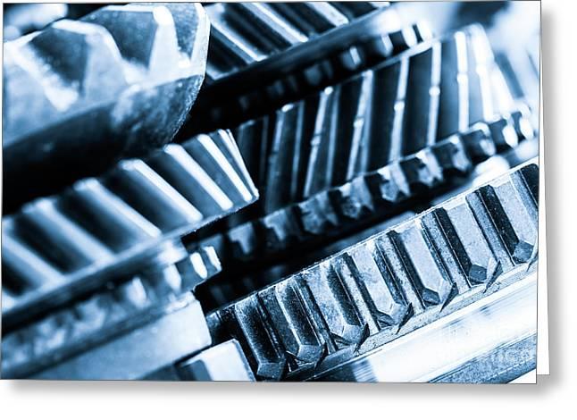 Gears, Grunge Cogwheels, Real Engine Elements Close-up Greeting Card by Michal Bednarek