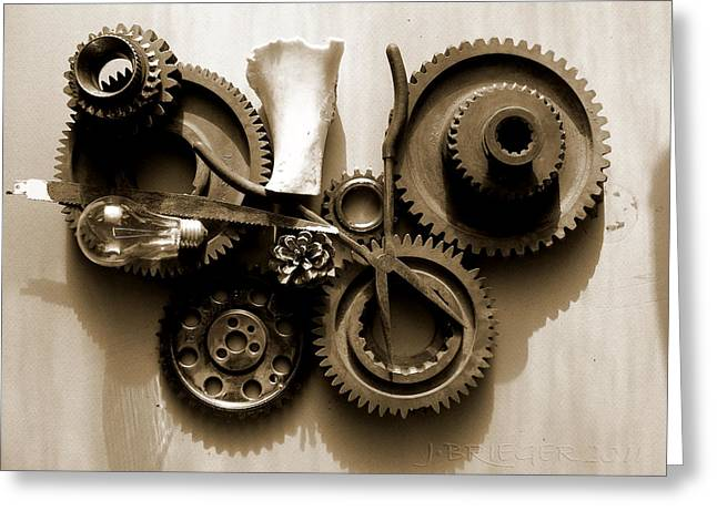 Component Pyrography Greeting Cards - Gears III Greeting Card by Jan Brieger-Scranton