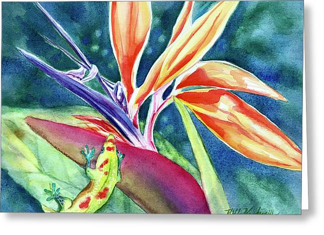 Gecko On Bird Of Paradise Greeting Card