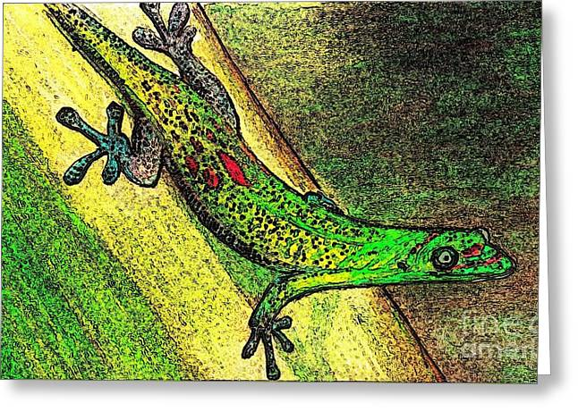 Gecko On The Green Greeting Card