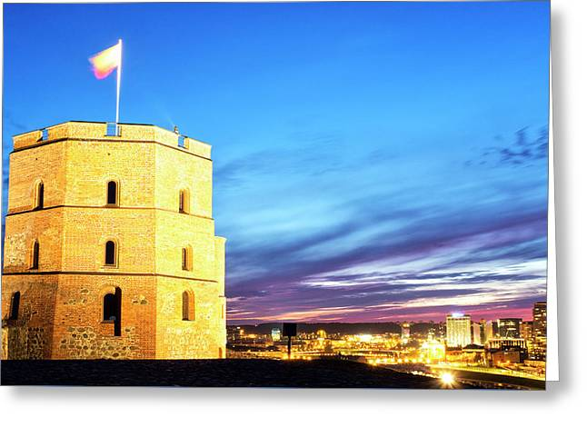 Greeting Card featuring the photograph Gediminas Tower by Fabrizio Troiani