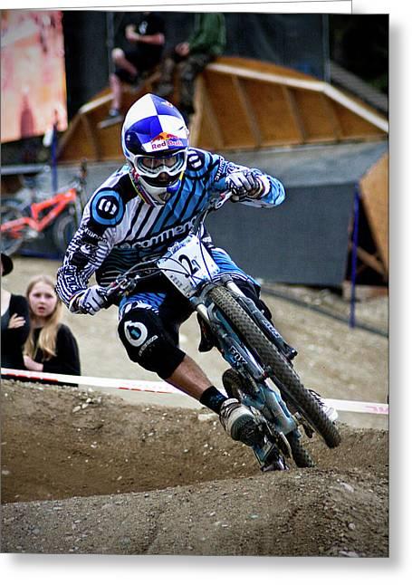 Bulls Pyrography Greeting Cards - Gee Atherton Dual Slalom Greeting Card by Ewan Bachell