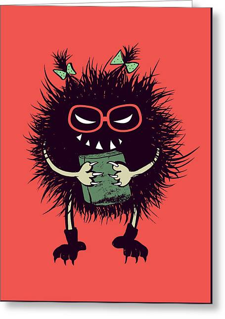 Geek Evil Bug Character Loves Reading Greeting Card
