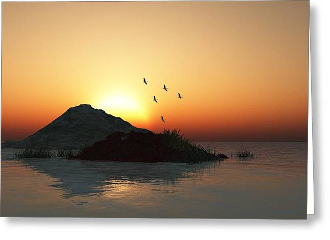 Geese And Sunset Greeting Card by David Lane