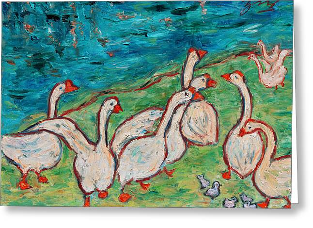 Greeting Card featuring the painting Geese By The Pond by Xueling Zou