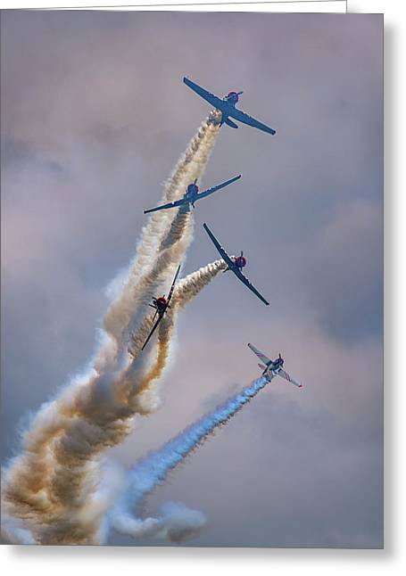Greeting Card featuring the photograph Geico Skytypers Tree Of Smoke by Rick Berk
