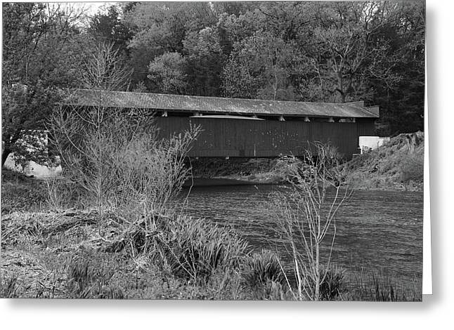 Greeting Card featuring the photograph Geiger Covered Bridge B/w by Jennifer Ancker