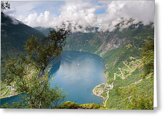 Geirangerfjord With Birch Greeting Card