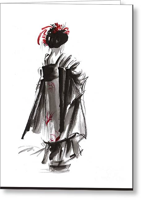 Geisha Abstract Painting. Greeting Card