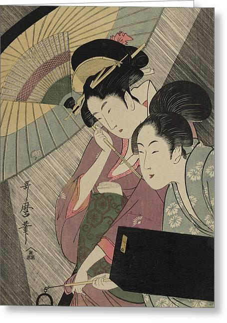 Geisha And Attendant On A Rainy Night Greeting Card by Kitagawa Utamaro
