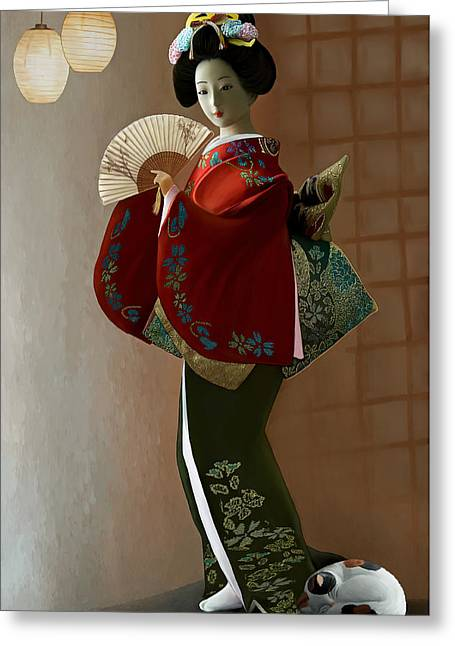 Geisha And Cat Greeting Card by Thanh Thuy Nguyen
