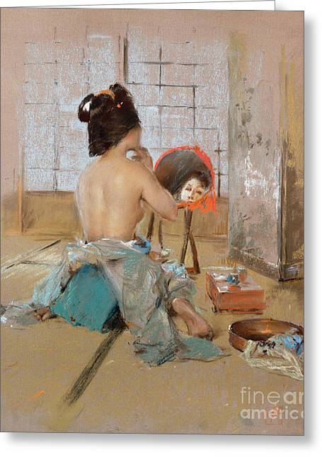 Geisha At Her Toilet  Greeting Card by Robert Frederick Blum